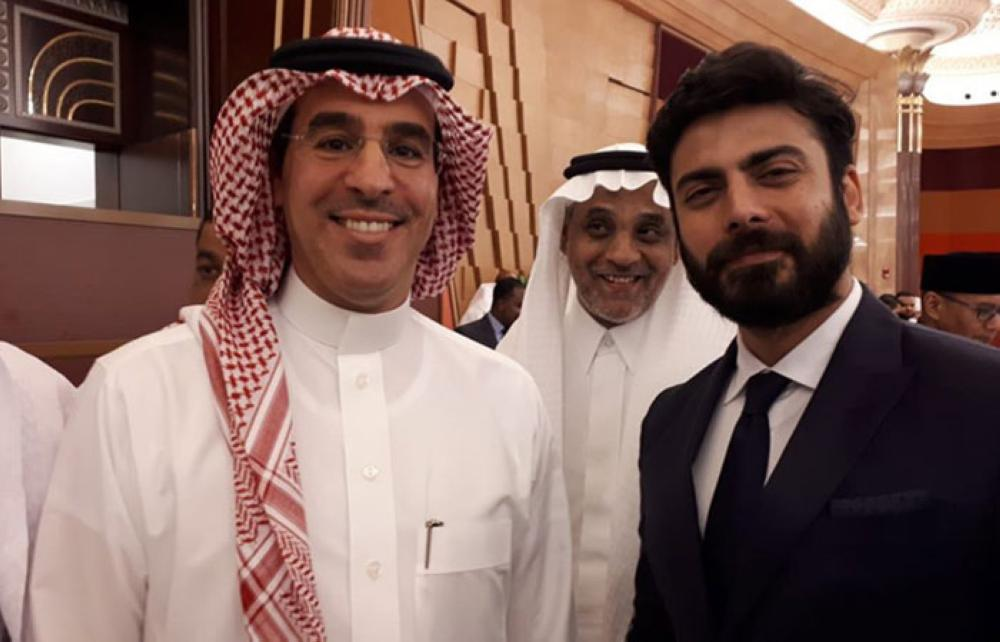 Minister of Media Dr. Awwad Al-Awwad (left) with Pakistani actor Fawad Khan, who performed Haj, at the Ministry of Media event. — SPA