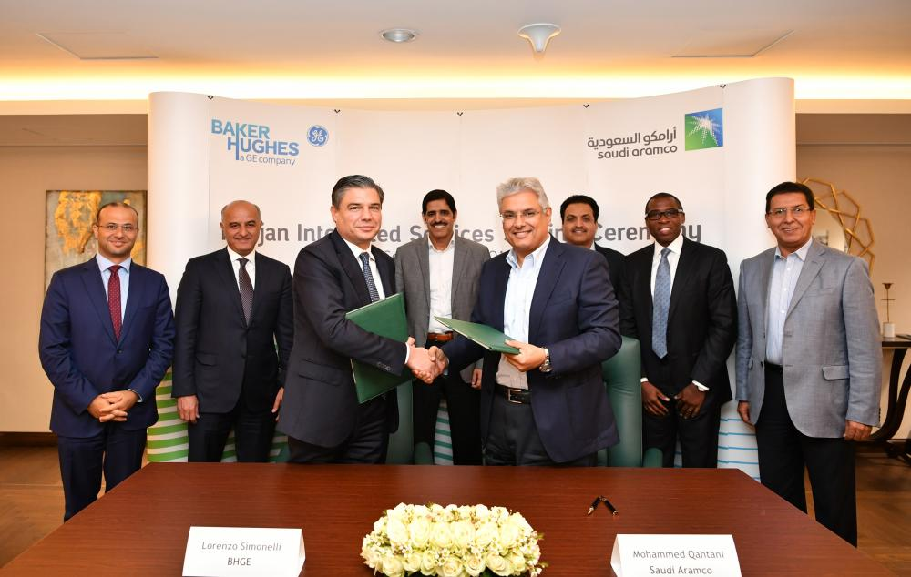 Saudi Aramco and BHGE officials at the signing ceremony