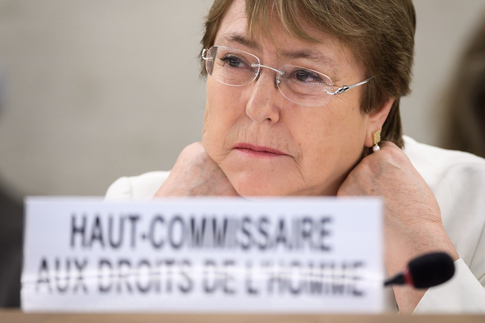 New High Commissioner for Human Rights Michelle Bachelet looks on on the opening day of the 39th UN Council of Human Rights in Geneva on Monday. — AFP