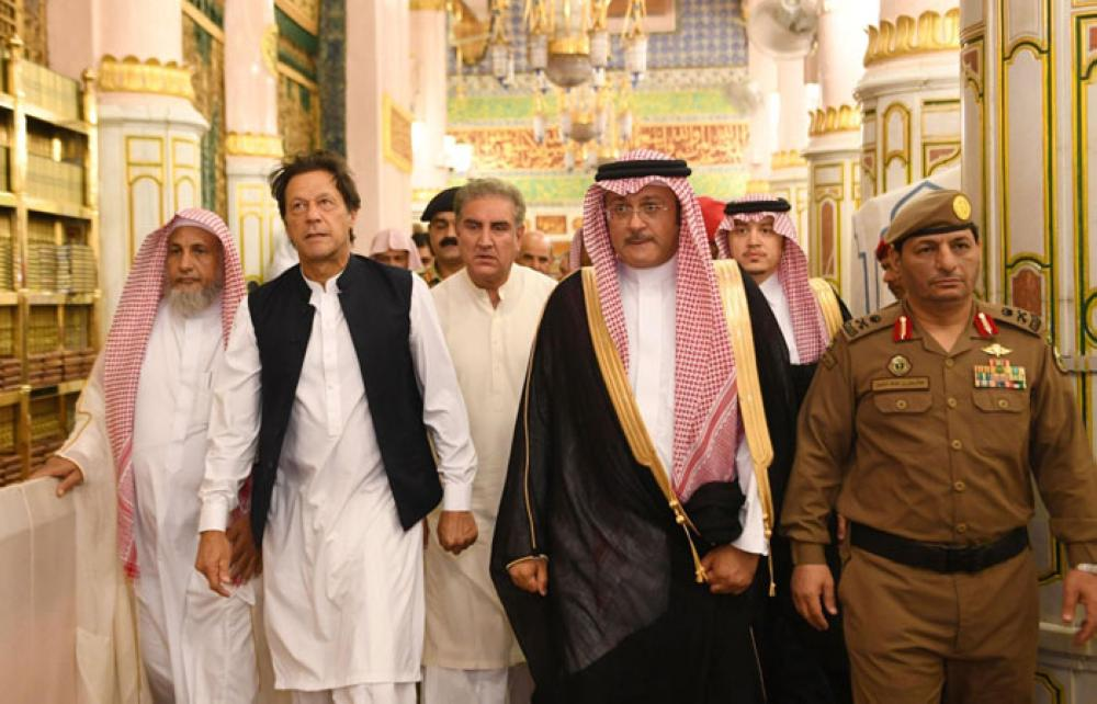 Pakistan Prime Minister Imran Khan visiting the Prophet's Mosque after arrival in Madinah on Tuesday. -- SPA
