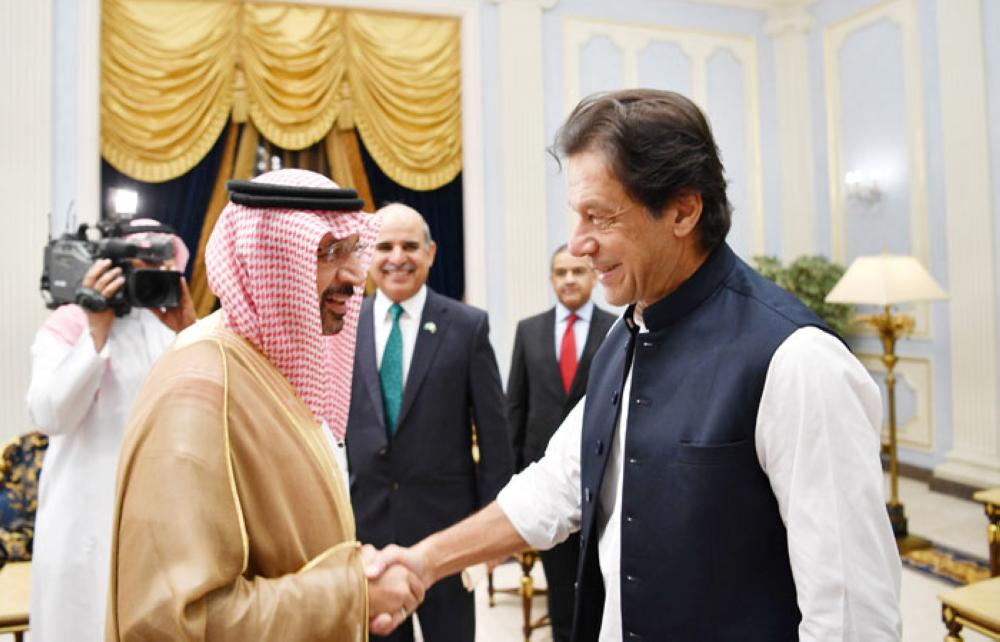 Minister of Energy Khalid Al-Falih receives Pakistan Prime Minster Imran Khan in Jeddah on Wednesday. — SPA