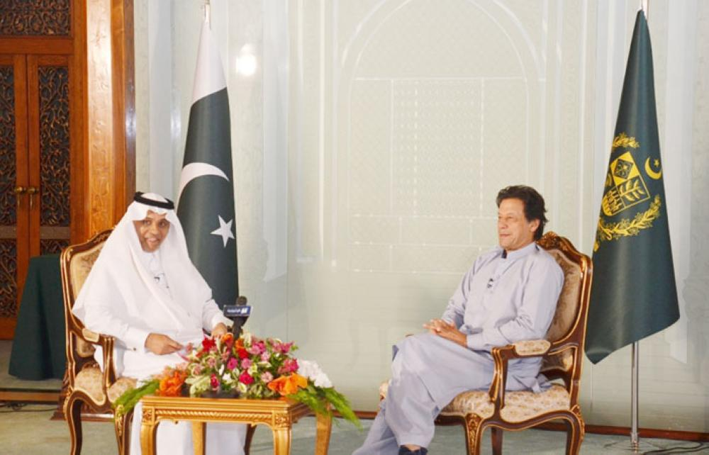 Imran Khan during his interview with Faheem Al-Hamid in Islamabad.