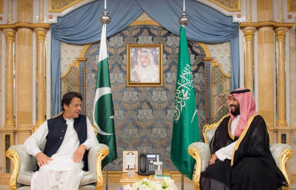 Crown Prince Muhammad Bin Salman, deputy premier and minister of defense, holds talks with Prime Minister of Pakistan Imran Khan in Jeddah on Wednesday. –SPA