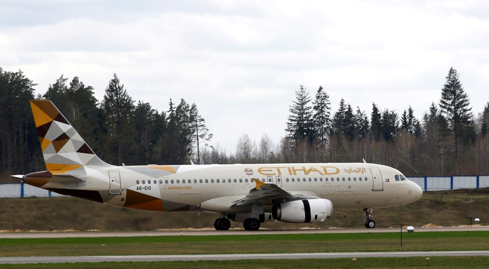 Etihad Airways Airbus A320-200 plane is seen at the National Airport Minsk, Belarus, in this file photo. — Reuters