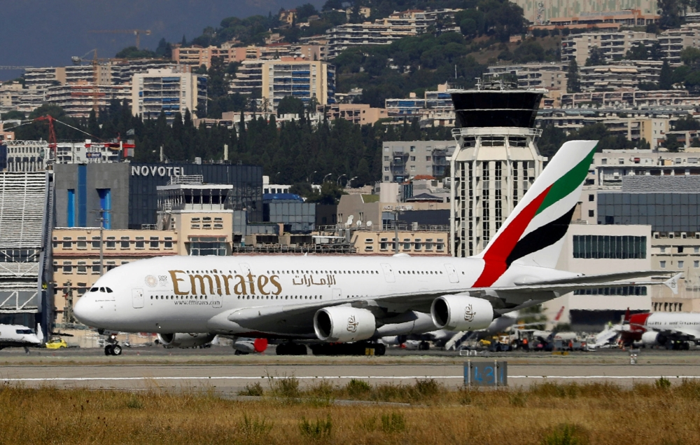 An Emirates Airbus A380-800 plane is seen at Nice International airport in Nice, France, in this file photo. — Reuters