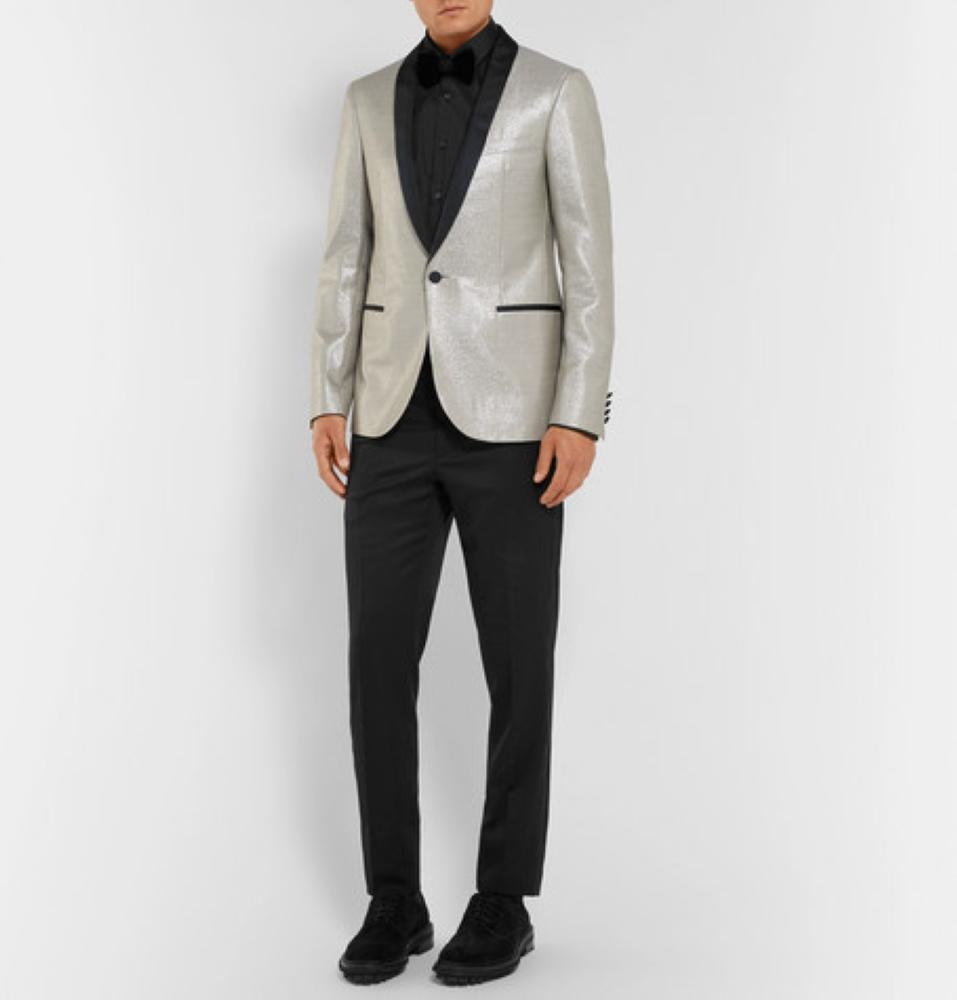 LANVIN Silver Faille-Trimmed Wool-Blend Tuxedo Jacket