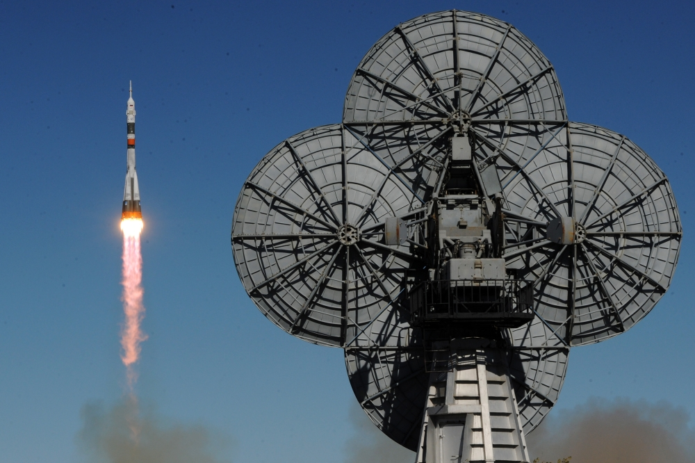 Russia's Soyuz MS-10 spacecraft carrying the members of the International Space Station (ISS) expedition 57/58, Russian cosmonaut Alexey Ovchinin and NASA astronaut Nick Hague, blasts off to the ISS from the launch pad at the Russian-leased Baikonur cosmodrome in Baikonur, Kazakhstan, on Thursday. — AFP