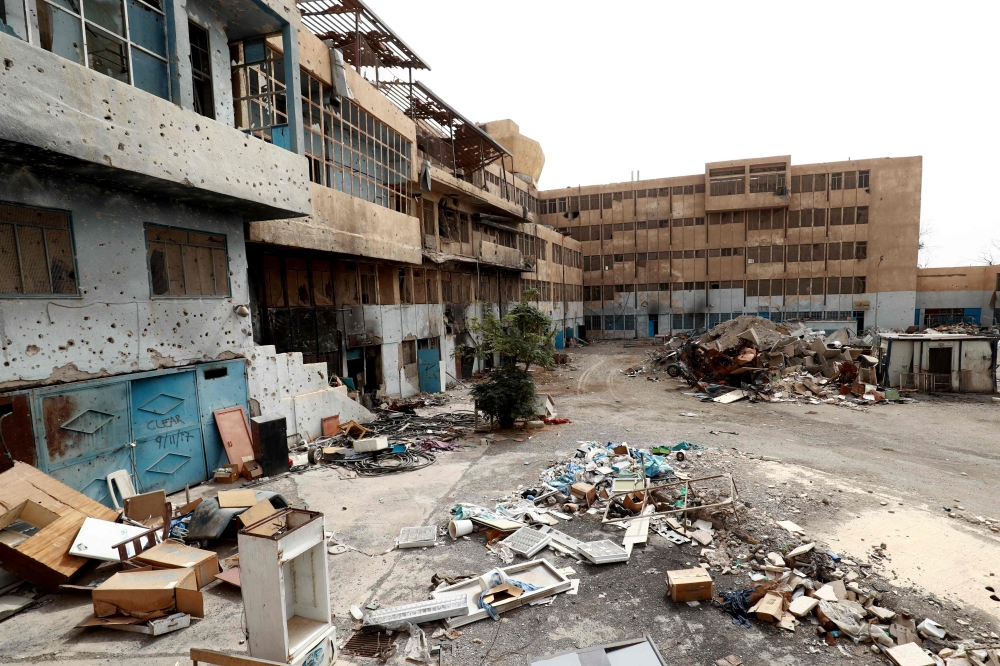Hospital equipment placed in the courtyard of the National Hospital building in the northern Syria city of Raqa, which was the final bastion of Daesh (the so-called IS) fighters. — AFP
