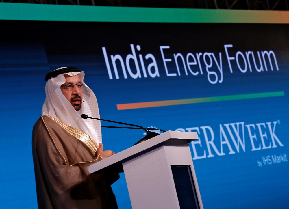 Saudi Energy Minister Khalid Al-Falih addresses the gathering during India Energy Forum in New Delhi on Monday. — Reuters