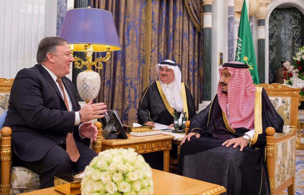 Custodian of the Two Holy Mosques King Salman holds talks with US Secretary of State Mike Pompeo at Al-Yamamah Palace in Riyadh on Tuesday -SPA