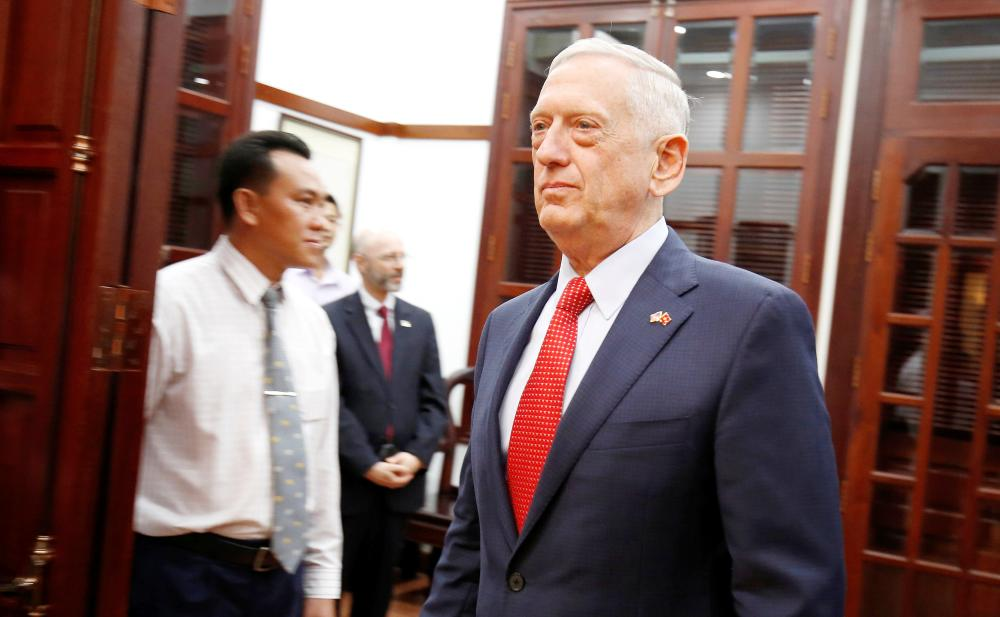 US Secretary of Defense Jim Mattis arrives for a meeting with Ho Chi Minh City's communist party chief Nguyen Thien Nhan in Ho Chi Minh City, Vietnam, on Tuesday. — Reuters