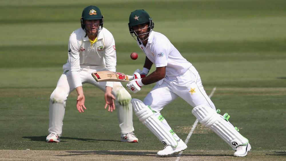 Opener Fakhar Zaman of Pakistan batting against Australia during the second cricket Test at Abu Dhabi Tuesday. — AFP