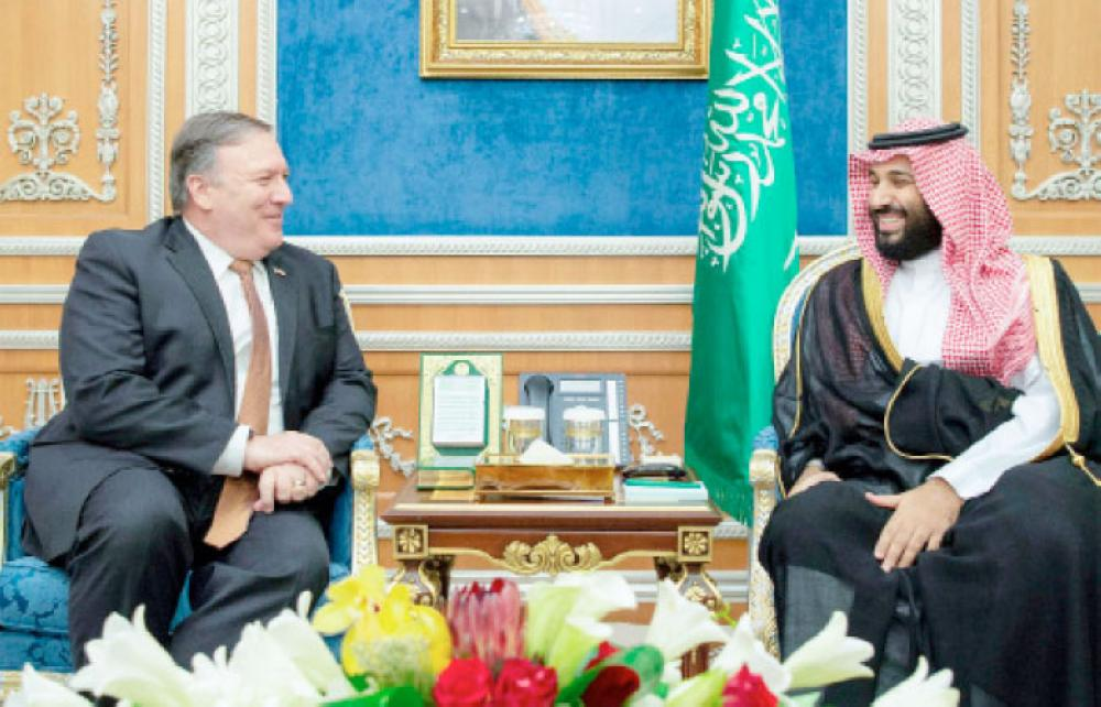 Crown Prince Muhammad Bin Salman, deputy premier and minister of defense, meets with US Secretary of State Mike Pompeo in Riyadh. — SPA