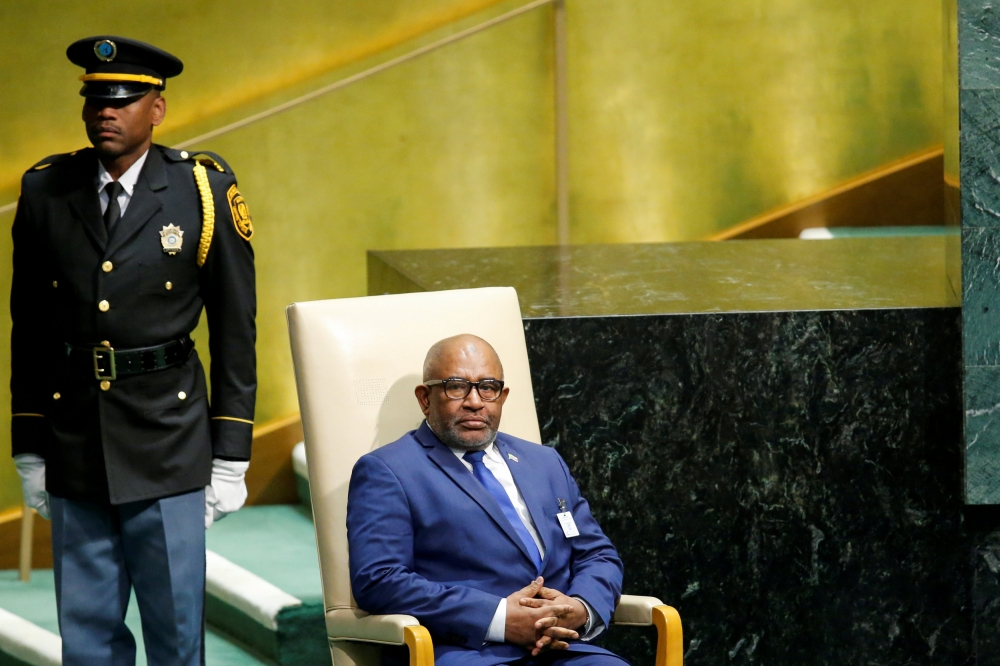 Comoros President Azali Assoumani sits in the chair reserved for heads of state before delivering his address during the 73rd session of the United Nations General Assembly at UN headquarters in New York in this Sept. 27, 2018 file photo. — Reuters