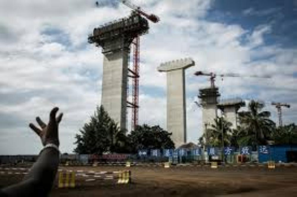 Construction work on the Chinese-built Maputo-Katembe Bridge, linking the two sides of the bay of Mozambique's capital. The three-kilometer, $725-million structure, scheduled to open this year, will be Africa's longest suspension bridge.