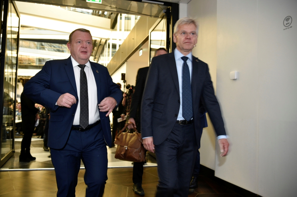 Denmark's Prime Minister Lars Lokke Rasmussen and CEO of Confederation of Danish Industry Karsten Dybvad arrive at the opening of P4G at the Confederation of Danish Industries in Copenhagen, in connection with the P4G Summit in Copenhagen, Denmark on Friday. — Reuters