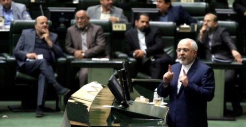 Iran's Foreign Minister Mohammad Javad Zarif delivers a speech to the parliament in Tehran ahead of a vote endorsing a counterterror finance bill in this Oct. 7, 2018 file photo. — AFP