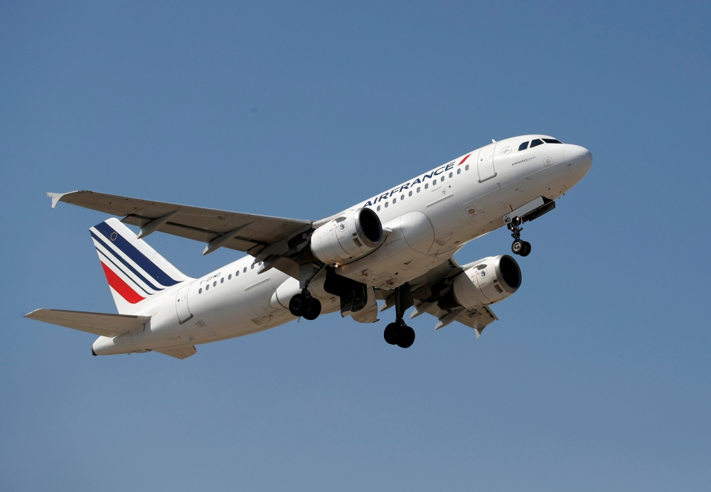 File photo shows an Air France Airbus A319-113 taking off from Nice International airport in Nice, France. — Reuters