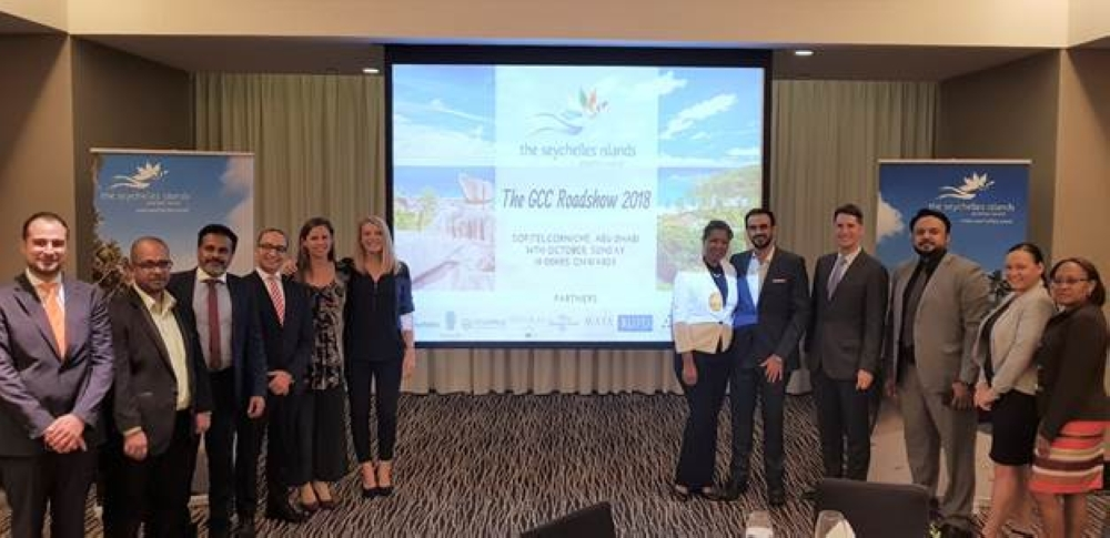 Seychelles Tourism Board (STB) delegation led by the manager of STB Office in Dubai Ahmed Fathallah and STB headquarters' senior marketing executive Natacha Servina