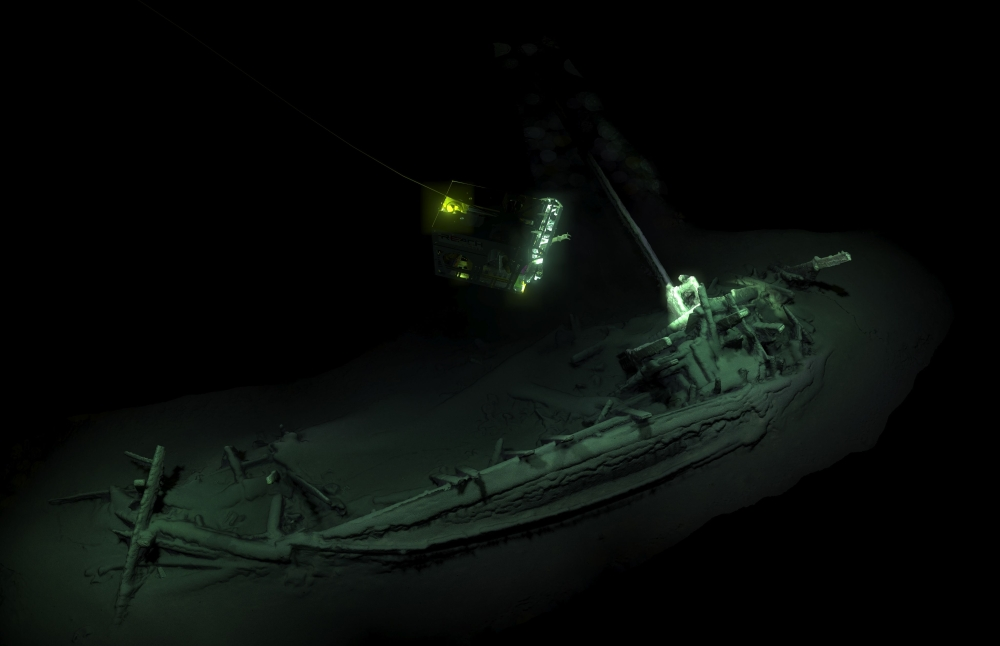 An undated handout picture released by Black Sea MAP/EEF Expeditions in London on Tuesday, shows the remains of an ancient Greek trading ship laying on the sea bed at the bottom of the Black Sea near Bulgaira.  — AFP