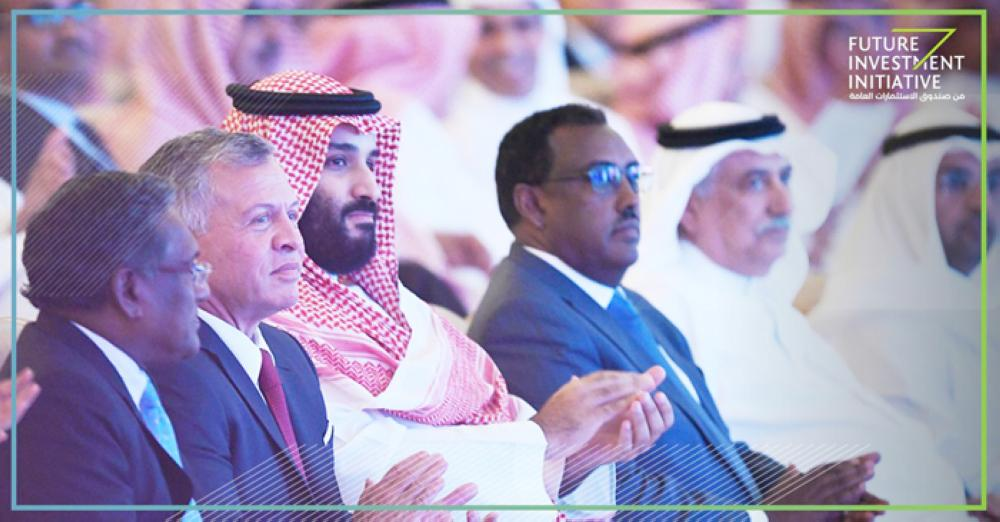 Crown Prince Muhammad Bin Salman, deputy premier and minister of defense, attends the plenary session of Future Investment Initiative (FII) along with Jordan's King Abdullah in Riyadh on Tuesday. — SPA