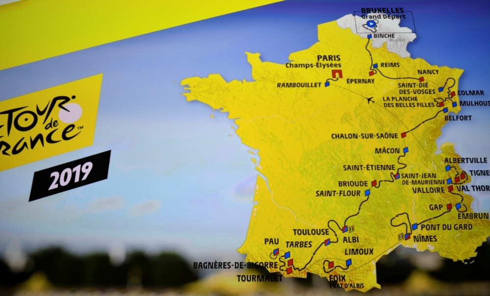 Mountains Of France Map.Mountains Galore As 2019 Tour De France Route Unveiled Saudi Gazette