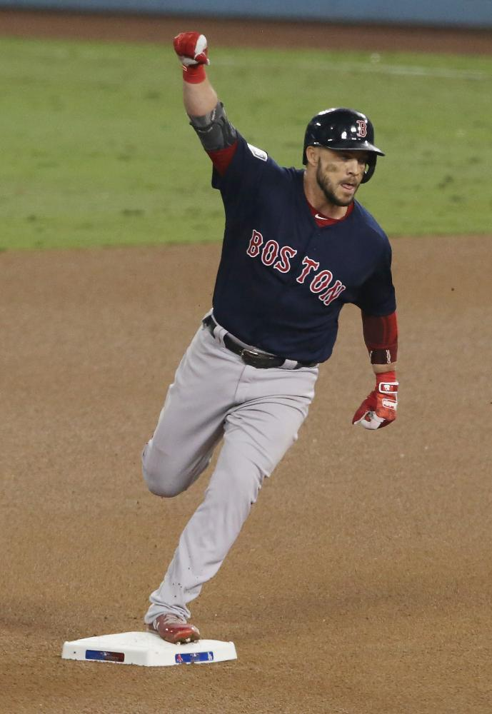 9d85eadce Steve Pearce of the Boston Red Sox celebrates after hitting a solo home run  to tie the game at 4-4 in the eighth inning of Game 4 of the 2018 World  Series ...