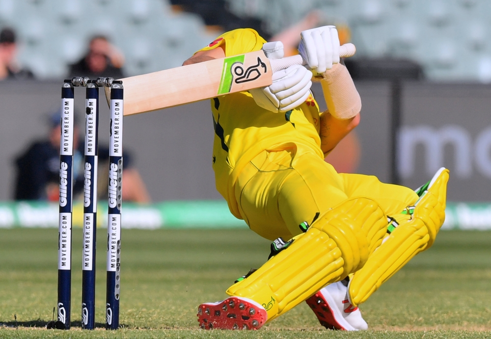 Adam Zampa of Australia avoids a delivery during the second one-day international against South Africa at the Adelaide Oval in Adelaide, Australia, on Friday. — Reuters