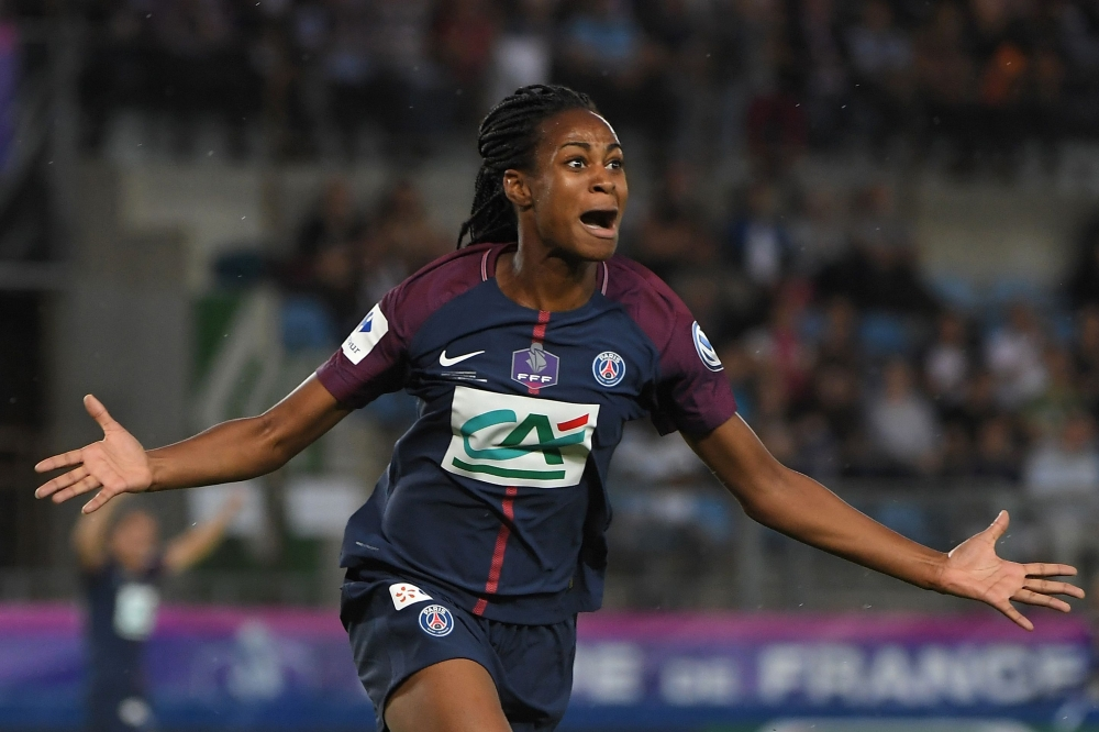 In this file photo, Paris Saint-Germain's (PSG) French forward Marie-Antoinette Katoto celebrates after scoring a goal during the women's French Cup final football match against Olympique Lyonnais (OL) at the Meinau stadium in Strasbourg. PSG are set to lose long-term sponsors Emirates after the Dubai based airline said that the company would not renew its contract which expires next year. — AFP