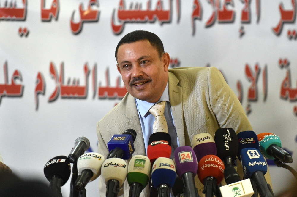 Former Yemeni Houthi-led rebels' information minister Abdul Salam Ali Jaber gives a press conference about his defection at Yemen's embassy in Riyadh on Sunday. — AFP