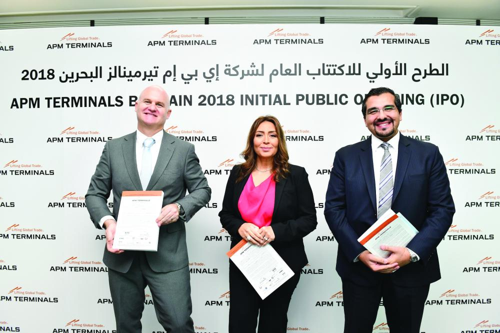 From left: Mark Hardiman,CEO&MD-APM Terminals Bahrain; Najla Al Shirawi,CEO & Wissam Haddad, Head of Investment Banking & Real Estate-SICO Bank launch the IPO prospectus