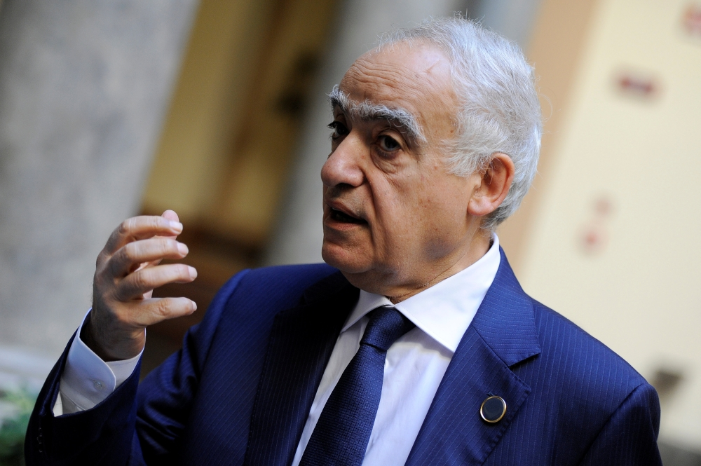 UN Envoy to Libya Ghassan Salame speaks during an interview with Reuters ahead of the first day of the international conference on Libya, in Palermo, Italy, Monday. — Reuters