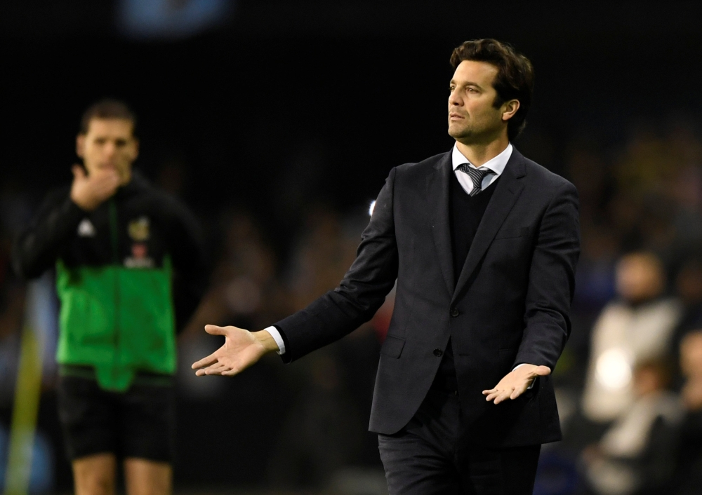 Real Madrid interim coach Santiago Solari during the La Liga match against Celta Vigo at Balaidos, Vigo, Spain, on Sunday. — Reuters