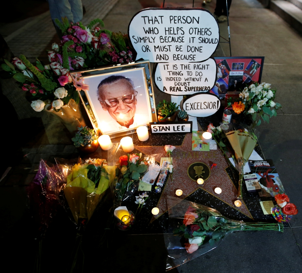 Flowers and mementos are pictured on the star of late Marvel Comics co-creator Stan Lee on the Hollywood Walk of Fame in Los Angeles, California. — Reuters
