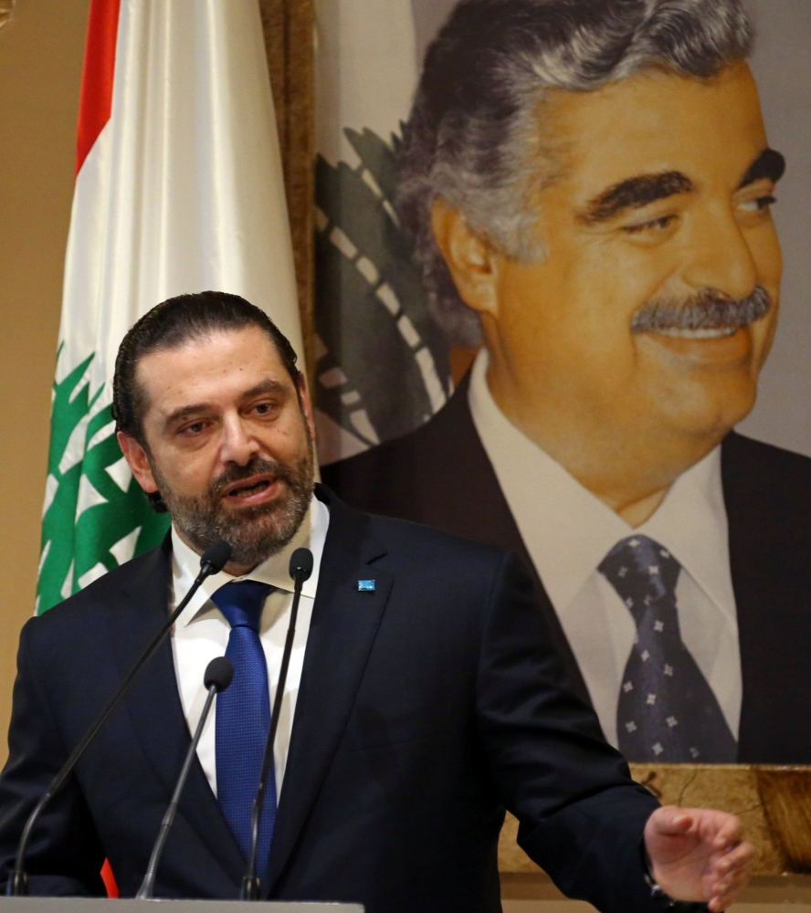 Lebanese Prime Minister-designate Saad Al-Hariri speaks during a news conference in Beirut, Lebanon, Tuesday. — Reuters
