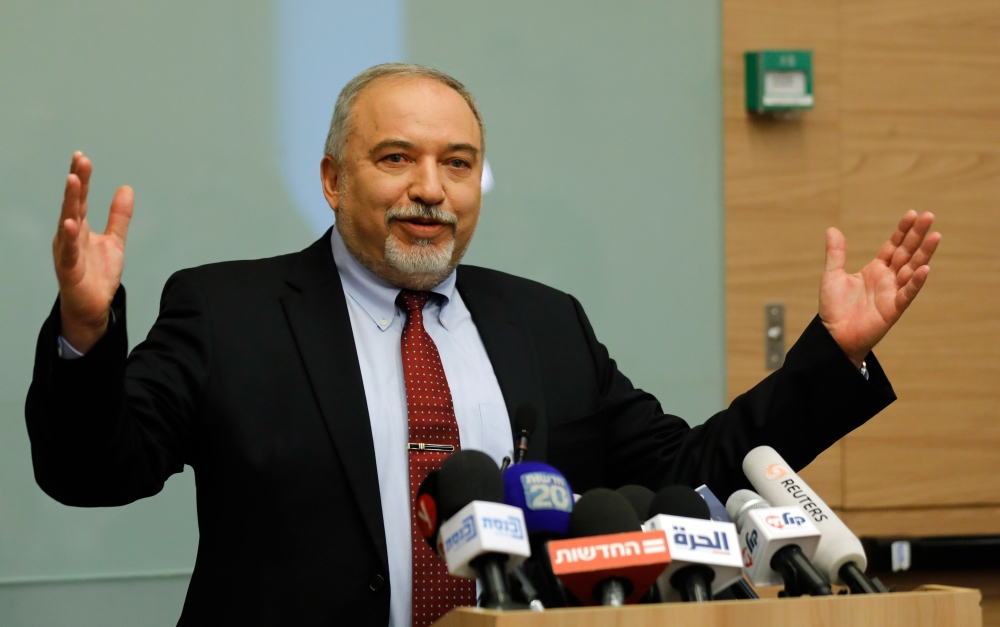 Israeli Defense Minister Avigdor Lieberman speaks during a press conference at the Knesset in Jerusalem on Wednesday. — AFP