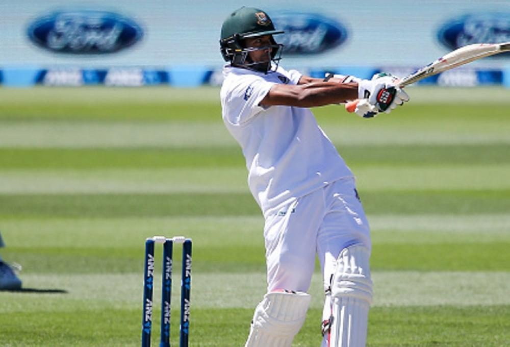 Mahmudullah Riyad, seen batting in the second Test against New Zealand at Hagley Oval in Christchurch, New Zealand, in this file photo, scored his first Test century in more than eight years as Bangladesh set Zimbabwe a towering 443-run target to win the second Test in Dhaka on Wednesday. — AFP