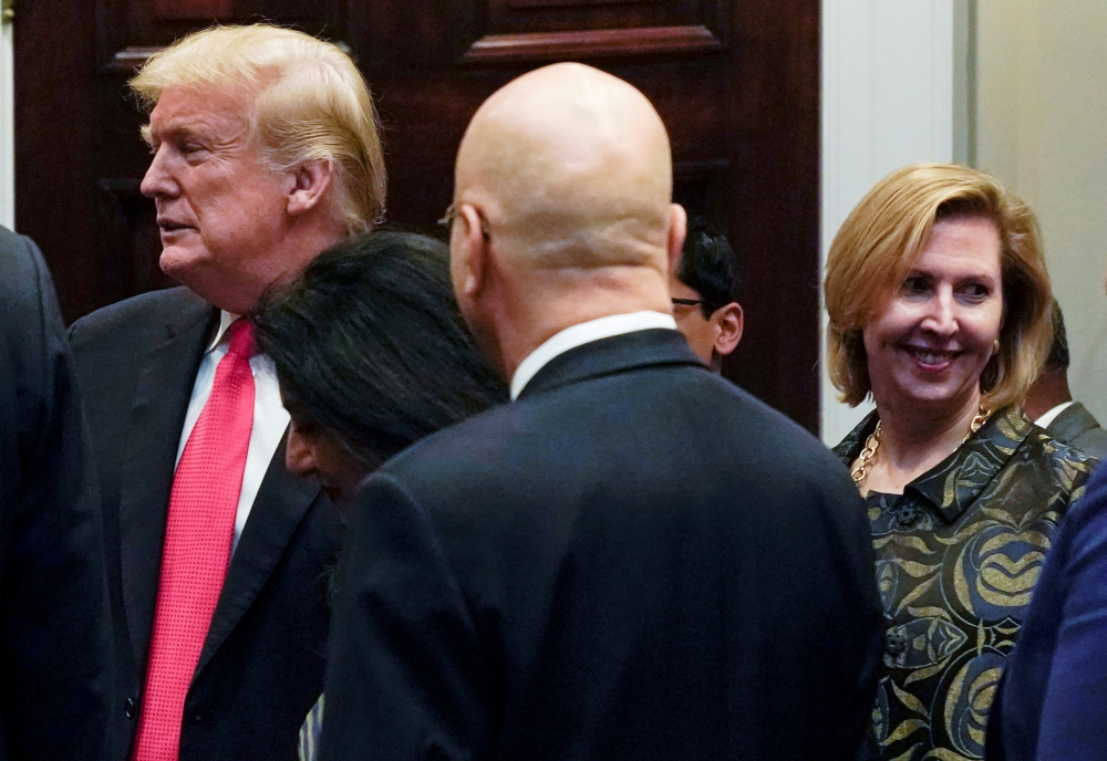 White House Deputy National Security Adviser, right, Mira Ricardel appears with US President Donald Trump at a Diwali ceremony at the White House in Washington in this Nov. 13, 2018 file photo. — Reuters
