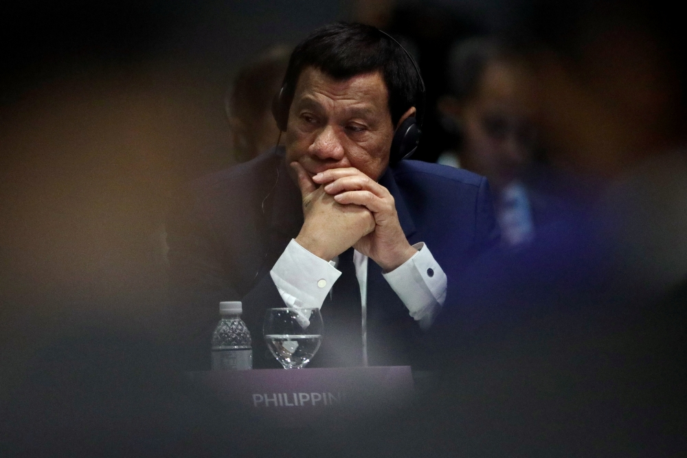 Philippine President Rodrigo Duterte attends the ASEAN Plus Three (APT) Summit in Singapore on Thursday. — Reuters