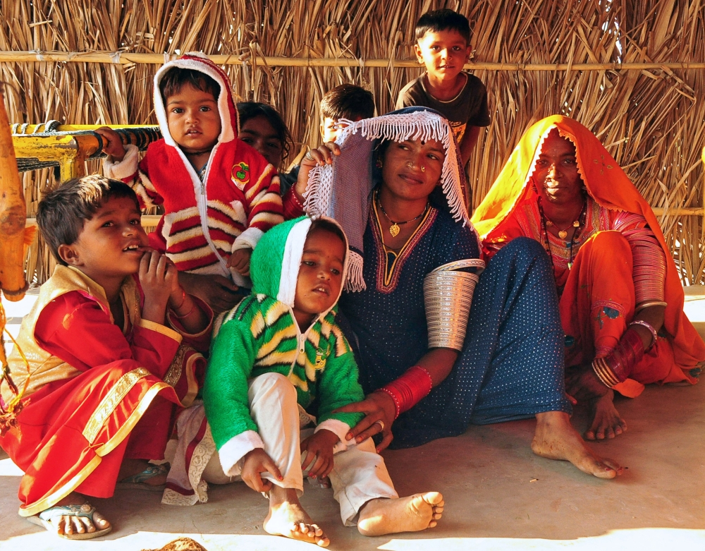 Hindu immigrant woman and children from Pakistan sit at a shelter on the outskirts of Jodhpur, in the desert state of Rajasthan, India, in this Oct. 30, 2018 file photo. — Reuters