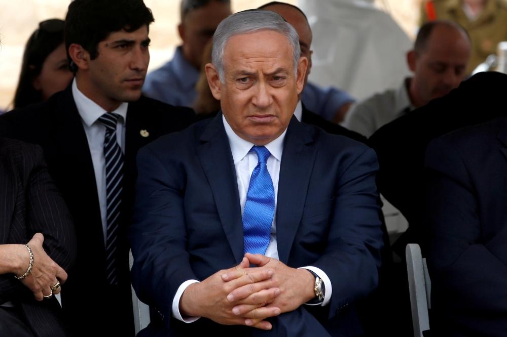 Israeli Prime Minister Benjamin Netanyahu attends an annual state memorial ceremony for Israeli first prime minister, David Ben Gurion, in Sde Boker, Israel, on Wednesday. — Reuters