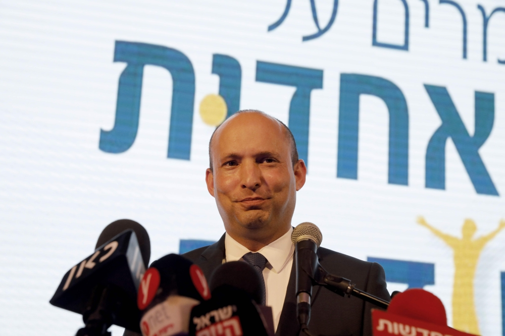 Israeli Minister of Education Naftali Bennett gives a speech in Ramat Gan Israel on Thursday. — AFP
