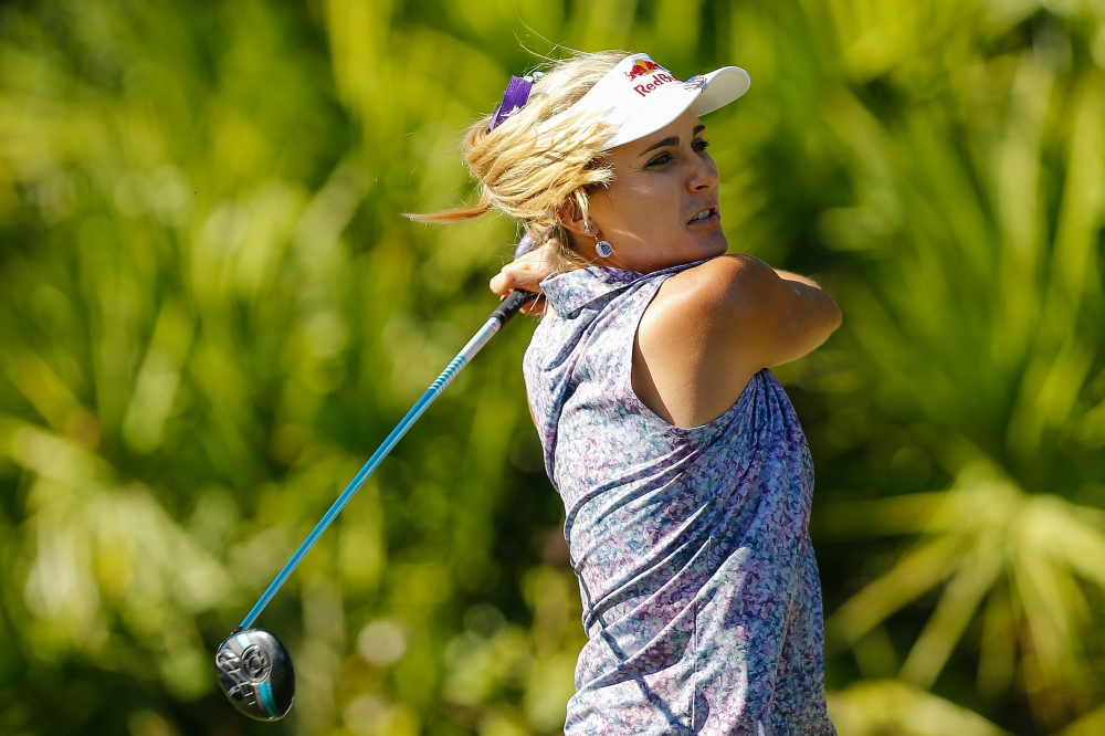 Lexi Thompson plays her shot from the 15th tee during the second round of the CME Group Tour Championship at Tiburon Golf Club on Friday in Naples, Florida. — AFP