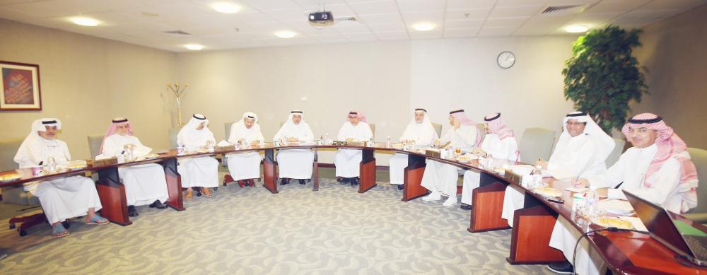 The board of directors of Okaz Organization for Press and Publication meets at the company's headquarters in Jeddah recently.