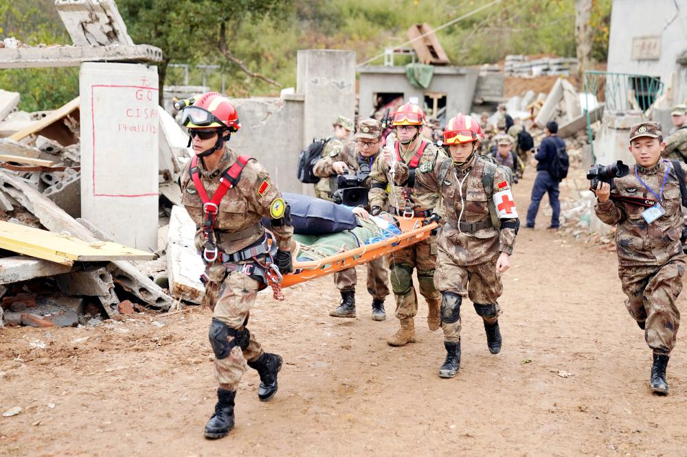 "US Army and China's People's Liberation Army (PLA) military personnel take part in an exercise of ""Disaster Management Exchange"" near Nanjing, Jiangsu province, China on Saturday. — Reuters"