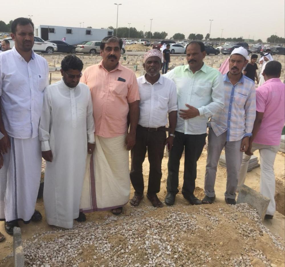 People attending the funeral in Dammam on Friday of an expat worker whose was buried three years after his death due to discrepancy in personal particulars in his passport. — SG photo