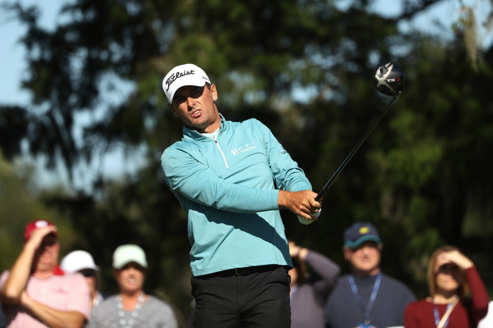 Charles Howell III of the United States plays his shot from the ninth tee during the third round of the RSM Classic at the Sea Island Golf Club Seaside Course on Saturday in St. Simons Island, Georgia. — AFP