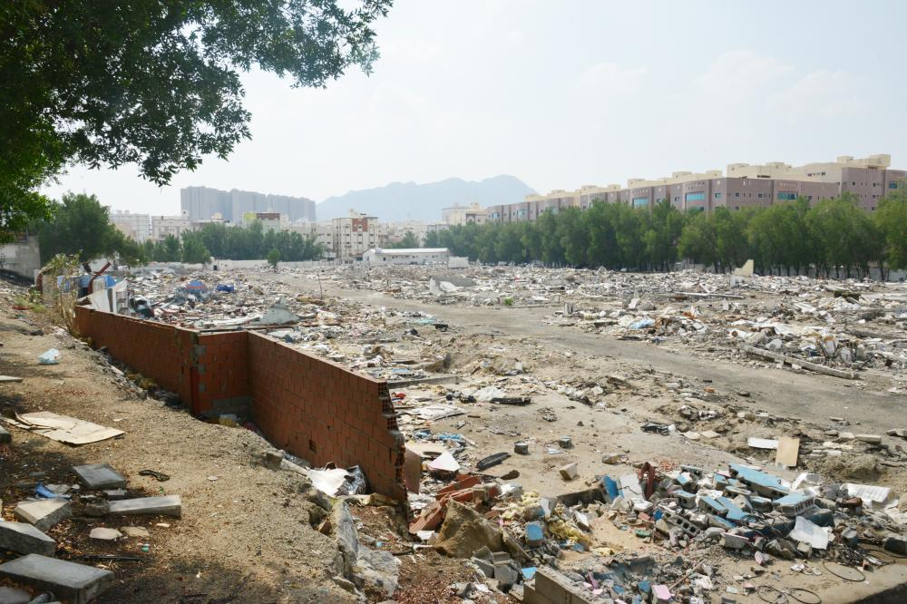 Although the Makkah municipality has shifted all car workshops away from Al-Aziziya district of Makkah, it has yet to clear the debris left behind by them.