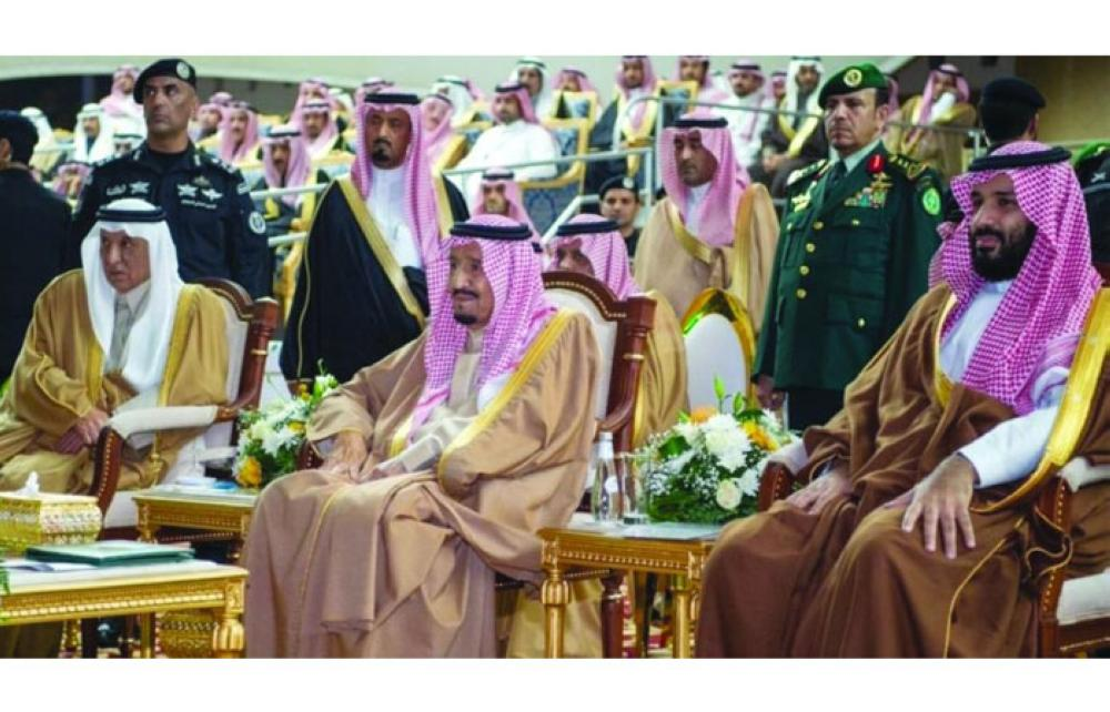 Custodian of the Two Holy Mosques King Salman Bin Abdul Aziz Al Saud, with the Crown Prince Mohammed Bin Salman, along with other royal family members and ministers, attend a public reception hosted by the people of Hail region at Magawat Park.