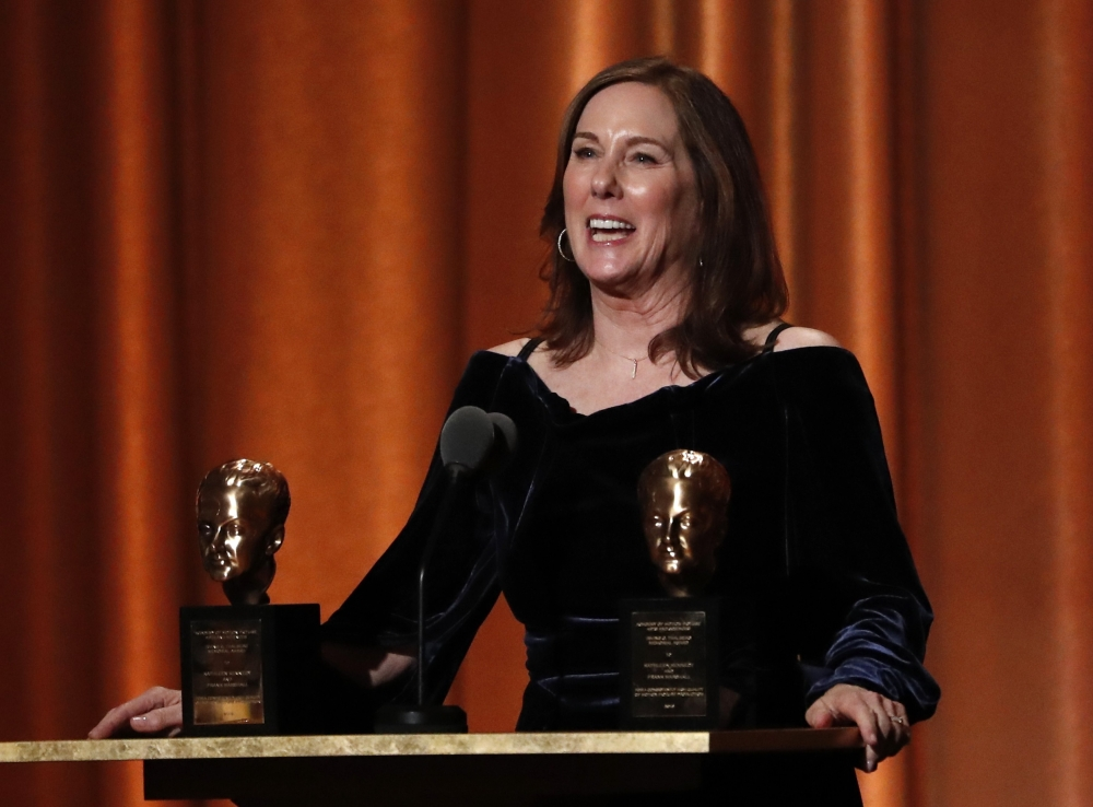 Kathleen Kennedy accepts the Irving G. Thalberg Memorial Award. — Reuters
